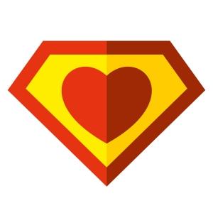 Superhero heart sticker